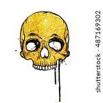 golden skull. vector... | Shutterstock .eps vector #487169302