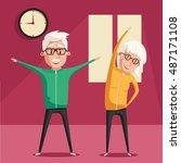 senior people and gymnastics.... | Shutterstock .eps vector #487171108