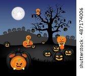 spooky pumpkin field with dead...   Shutterstock .eps vector #487174006