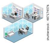isometric interior of director... | Shutterstock .eps vector #487174576