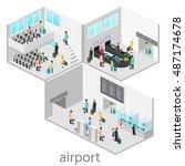 isometric airport scenes. flat... | Shutterstock .eps vector #487174678