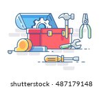 open box with tools. pliers and ... | Shutterstock .eps vector #487179148