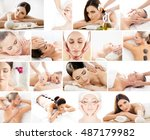 collection of photos with women ... | Shutterstock . vector #487179982