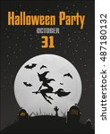 halloween party poster 2 | Shutterstock .eps vector #487180132