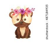 cute cartoon watercolor forest... | Shutterstock . vector #487184935