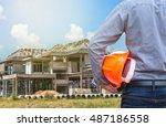 resident engineer holding... | Shutterstock . vector #487186558