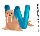 Letter W With Animal Walrus Fo...