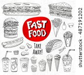 vector set of food  sketch... | Shutterstock .eps vector #487191202