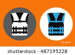 life jacket  icon illustration   Shutterstock .eps vector #487195228