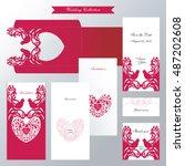 wedding collection. couple... | Shutterstock .eps vector #487202608