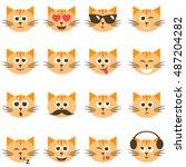 cute cat faces set. raster... | Shutterstock . vector #487204282