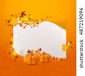 white paper with autumn leaves... | Shutterstock .eps vector #487219096