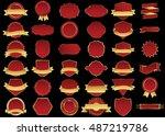 banner red vector icon set on... | Shutterstock .eps vector #487219786
