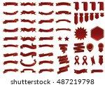 banner red vector icon set on... | Shutterstock .eps vector #487219798