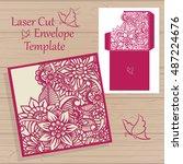lazercut vector wedding... | Shutterstock .eps vector #487224676