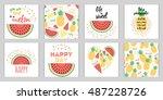 vector set of summer holiday... | Shutterstock .eps vector #487228726