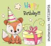 greeting card cute fox with... | Shutterstock .eps vector #487228936