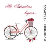 vintage bicycle with flowers... | Shutterstock .eps vector #487229002