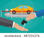 hand gives keys to another hand.... | Shutterstock .eps vector #487231276