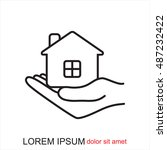 line icon  save house | Shutterstock .eps vector #487232422