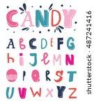 vector hand drawn funky... | Shutterstock .eps vector #487241416