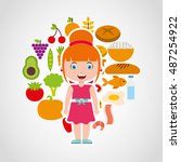 kids menu restaurant icon... | Shutterstock .eps vector #487254922