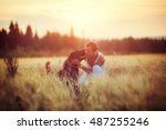 young man with his dog in field ... | Shutterstock . vector #487255246