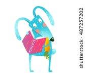 cartoon blue bunny reading book ... | Shutterstock .eps vector #487257202
