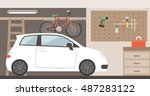 home garage with car  bike and... | Shutterstock .eps vector #487283122