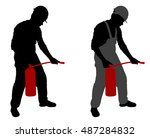 man with fire extinguisher  ... | Shutterstock .eps vector #487284832