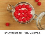 red raspberry candy in the bowl ... | Shutterstock . vector #487285966