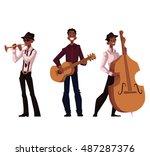set of handsome african male...   Shutterstock .eps vector #487287376