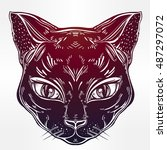 black cat head portrait with... | Shutterstock .eps vector #487297072