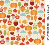 seamless pattern with autumn...   Shutterstock .eps vector #487312126