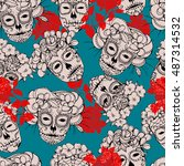 seamless background with skulls.... | Shutterstock .eps vector #487314532