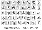 set of black people and sport... | Shutterstock .eps vector #487319872