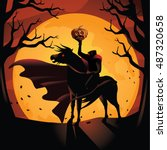 headless horseman. the horseman ... | Shutterstock .eps vector #487320658