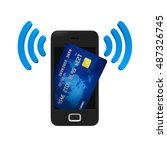 smartphone with credit card. 3d ... | Shutterstock . vector #487326745