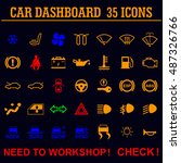 car dashboard panel indicators.   Shutterstock .eps vector #487326766