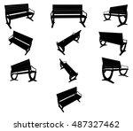 vector image. benches black... | Shutterstock .eps vector #487327462