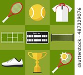 vector set of tennis icons in... | Shutterstock .eps vector #487329076