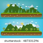 flat natural illustration with... | Shutterstock .eps vector #487331296