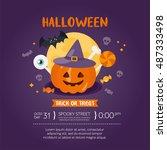 halloween greeting card... | Shutterstock .eps vector #487333498