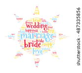 marriage and bride word cloud.... | Shutterstock .eps vector #487335856