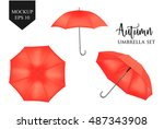 blank classic opened round rain ... | Shutterstock .eps vector #487343908
