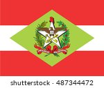flag of santa catarina   Shutterstock .eps vector #487344472