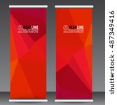 abstract red roll up banner... | Shutterstock .eps vector #487349416