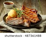 grilled pork ribs and potatoes... | Shutterstock . vector #487361488