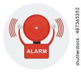 vector red fire alarm bell.... | Shutterstock .eps vector #487365352