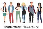 handsome young guys with... | Shutterstock .eps vector #487376872